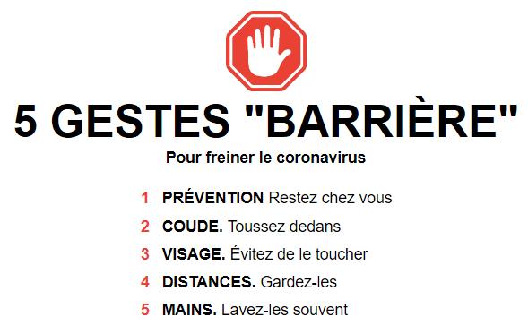 5 gestes barrières contre le COVID-19